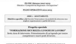 """REGIONE ABRUZZO – PROGETTO SPECIALE """"FORMAZIONE SICUREZZA LUOGHI DI LAVORO"""""""